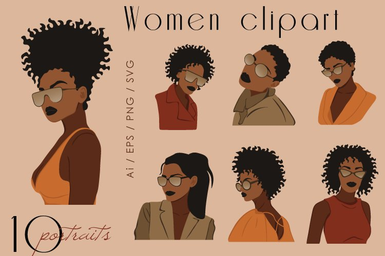 Woman in sunglasses, Black Woman Clipart, African Woman SVG