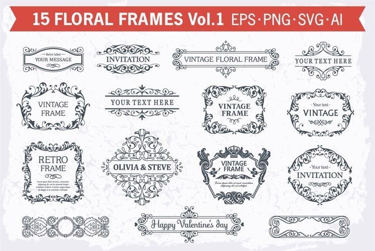 Floral frames decorative backgrounds set #1, 15 elements