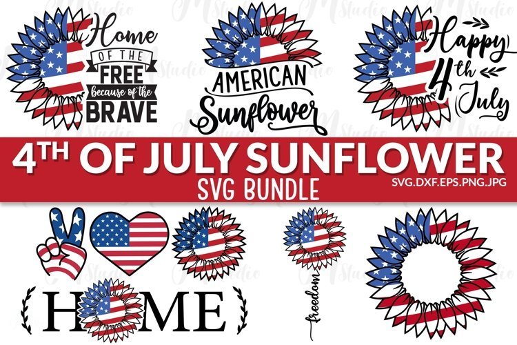Sunflower 4th of july svg. example image 1