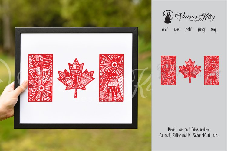 Canada flag zentangle, Canadian, maple leaf, Canada Day example image 1