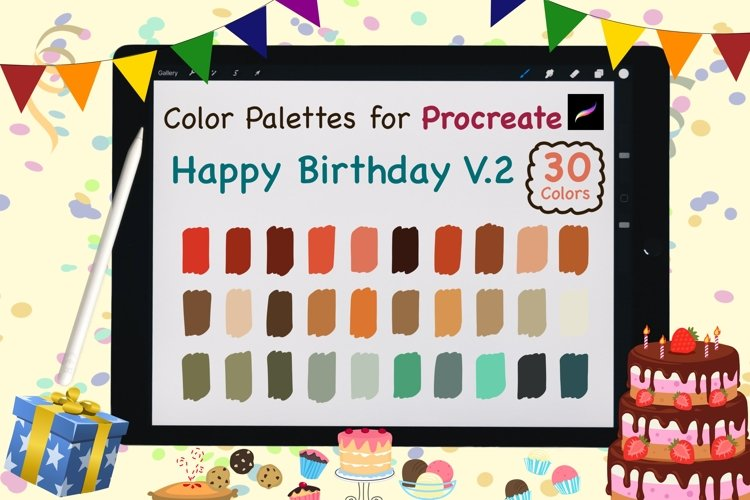 Color Palettes set for Procreate - Happy Birthday V.2 example image 1