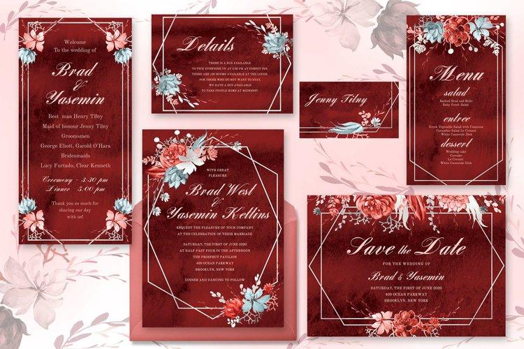 Marsala Watercolor Wedding Suite