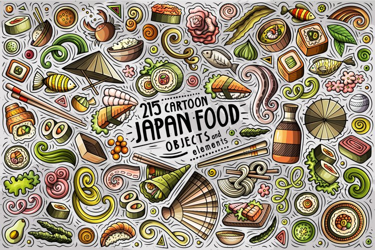 JAPAN FOOD Cartoon Vector Objects Set example image 1
