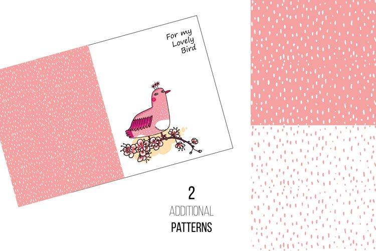 Pink Japanese Bird - Floral set example 4