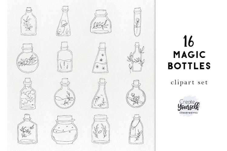 Handdrawn bottles clipart - doodle floral bottles example image 1