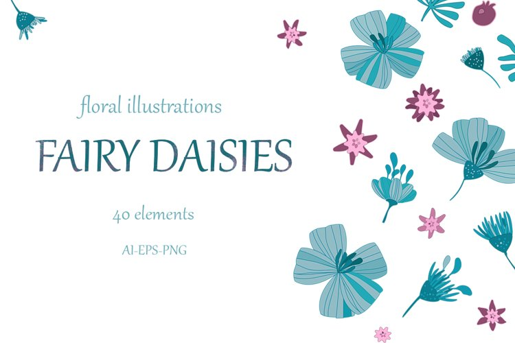 floral collection Fairy daisies, set elements example image 1
