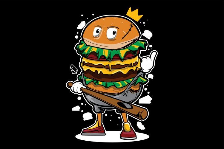 King Burger Gangster Mascot Illustration