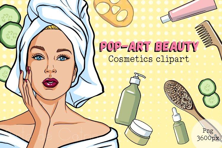 Pop-Art Beauty, Cosmetics Clipart, Women Set, Comic