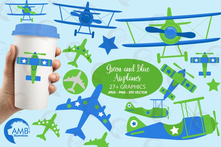 Airplane clipart, Airplane graphics, Biplane, Plane clipart, graphics, illustrations AMB-2270
