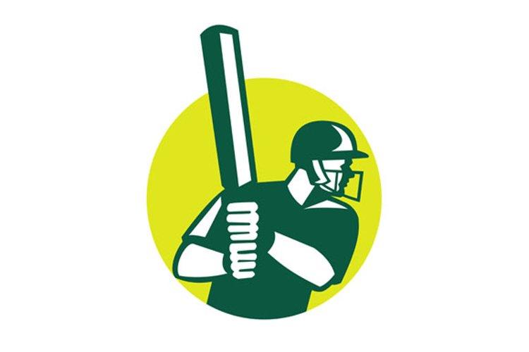 Cricket Batsman Batting Icon Retro example image 1