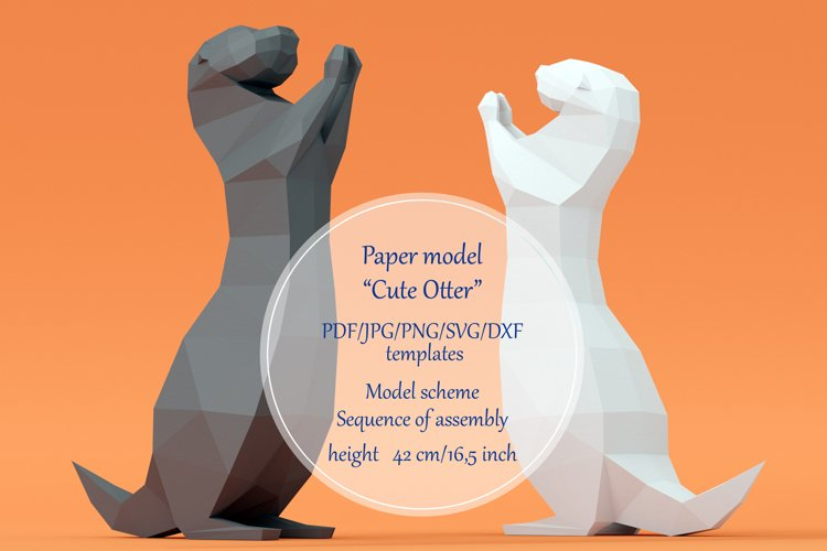 Paper model Cute Otter. Printable papercutting templates. example image 1