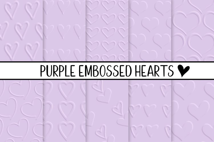 Purple Embossed Hearts