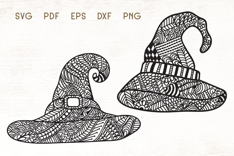 Witch Hat - Halloween Hat Zentangle SVG example image 1