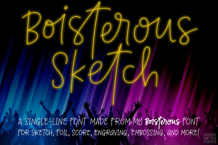 Boisterous Sketch - a fun single-line font with variety! example image 1