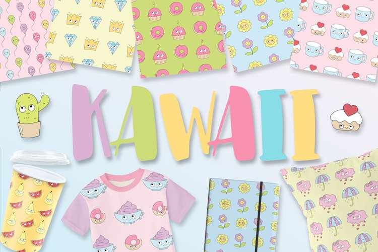 Kawaii patterns, elements example image 1