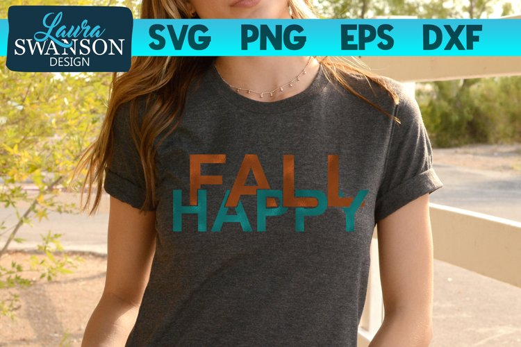 Happy Fall SVG Cut File | Interlocking Letters SVG Cut File