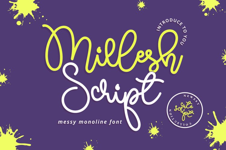 Millesh Script - Messy Quirky Monoline Script