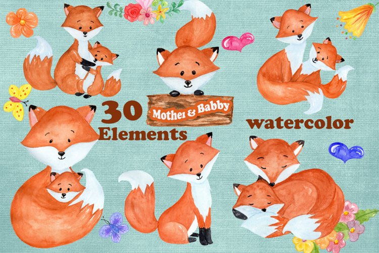 Watercolor Fox clipart example image 1