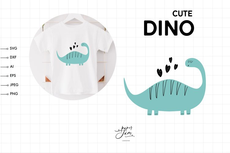 Dinosaur with hearts svg Dinosaur Birthday Party svg png example image 1