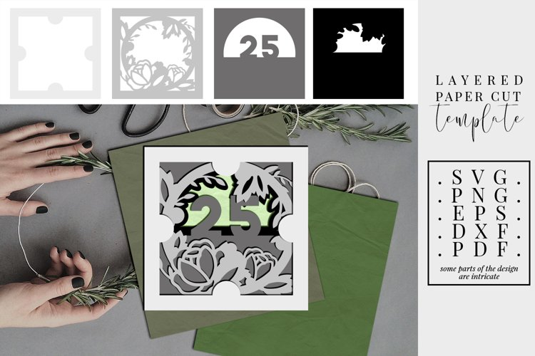 Layered paper cut 25th birthday floral, 3D SVG, bday wreath