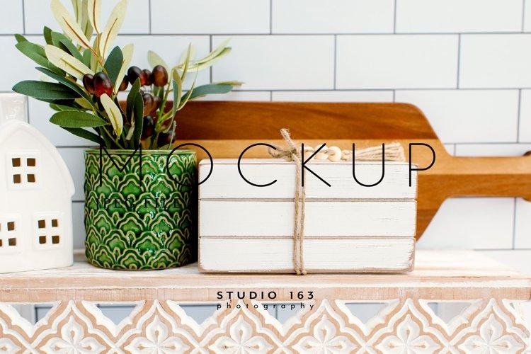 Wooden Book Stack Mockup, Tier Tray, Shelf Decor Photo, JPEG example image 1