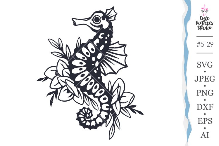 Sea horse with flowers Cricut SVG file, Sea animals svg png