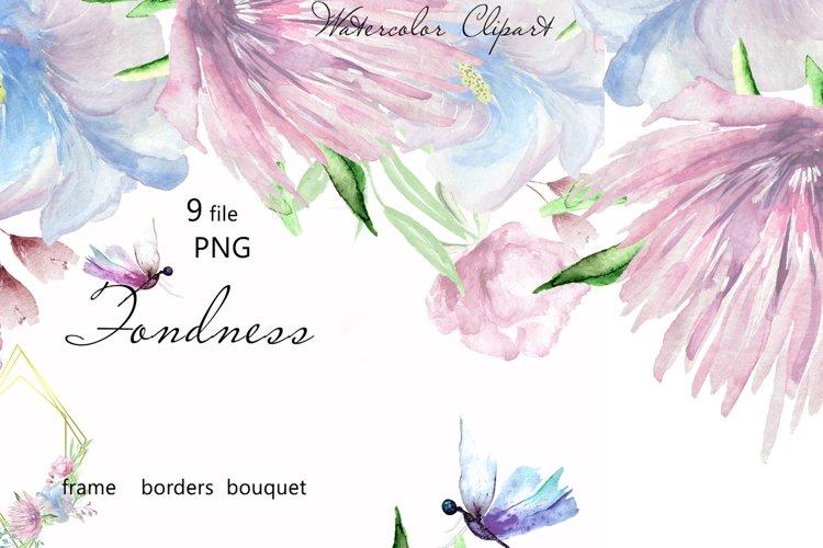 Blue Wedding floral frame border clipart