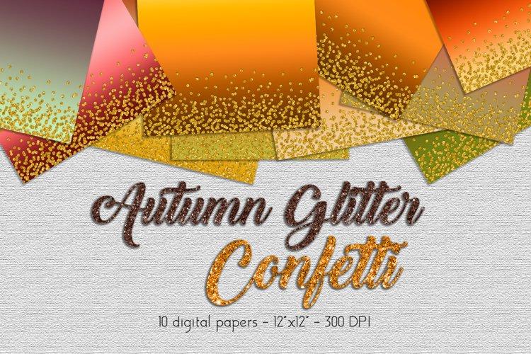 Autumn Glitter Digital Paper Set example image 1