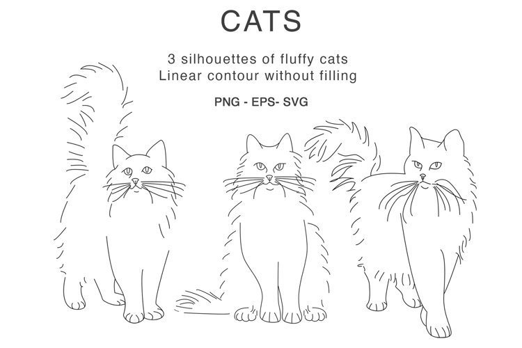 Fluffy cat outline silhouette line art clipart svg example image 1
