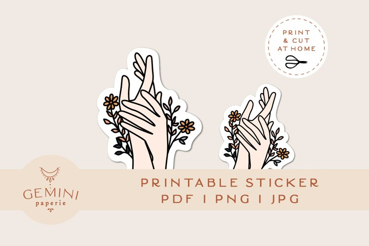 Printable Sticker | Floral Hands Sticker for Cricut example image 1