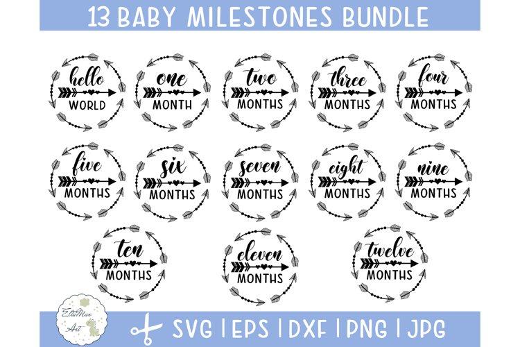 Baby Milestones Svg Bundle, Monthly Milestones Svg, Newborn