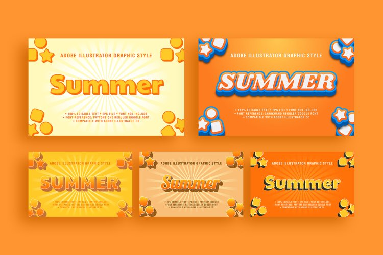 5 Summer Text Effect Graphic Styles Vector example image 1