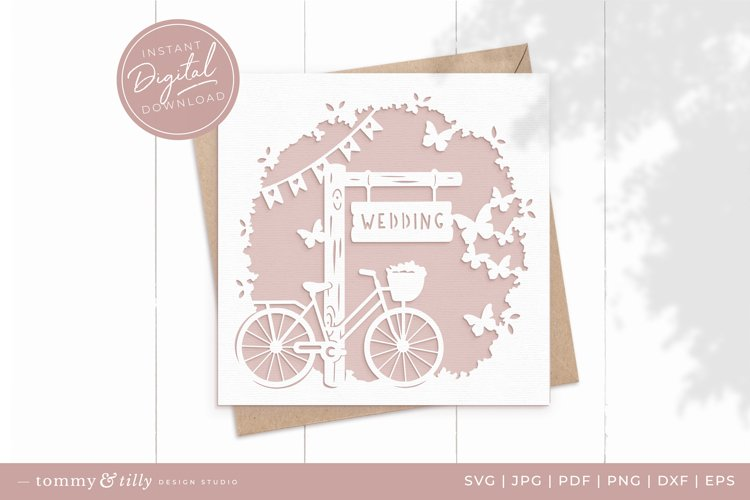 Wedding Bike Card SVG for Cricut and Silhouette