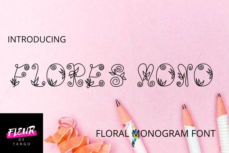 Flores mono - beautiful monogram floral font example image 1