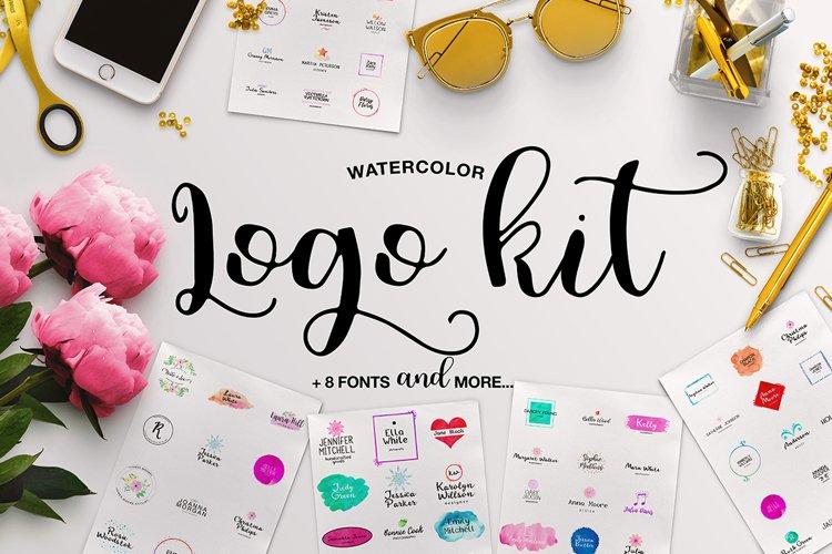 Watercolor Logo Kit 8 Fonts! example image 1