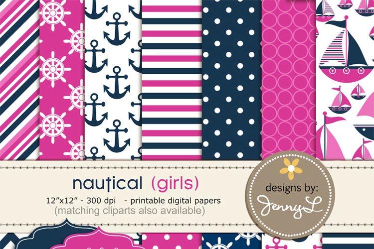 Nautical Sailing Girl Pink Digital Papers  example image 1