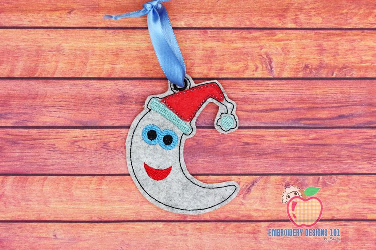 Christmas Moon Ornament Embroidery example image 1