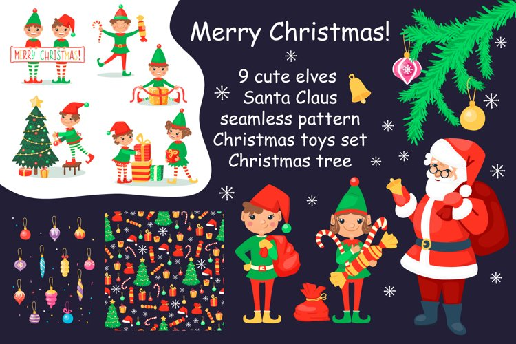 Christmas cartoon set with elves and Santa Clause example image 1