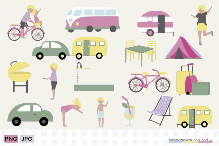 Summer camping clipart set | Vacations with caravan clipart
