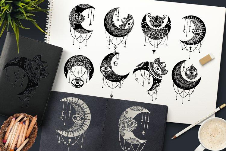 Crescent Moon Eyes Clipart Set
