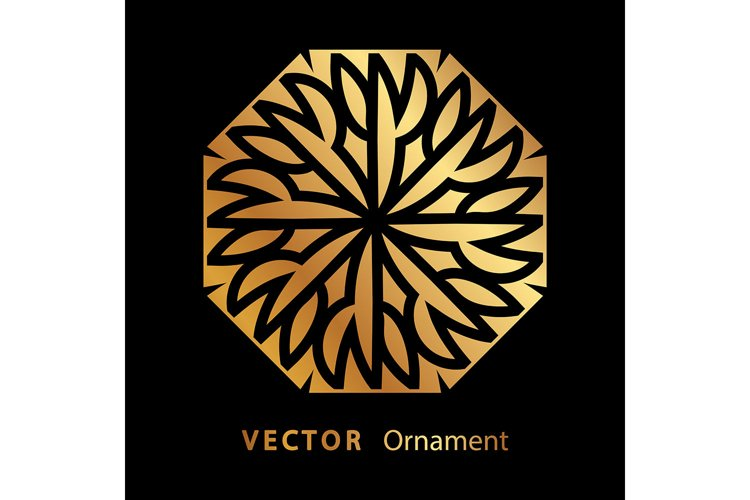 vector illustration mandala. Golden floral pattern example image 1