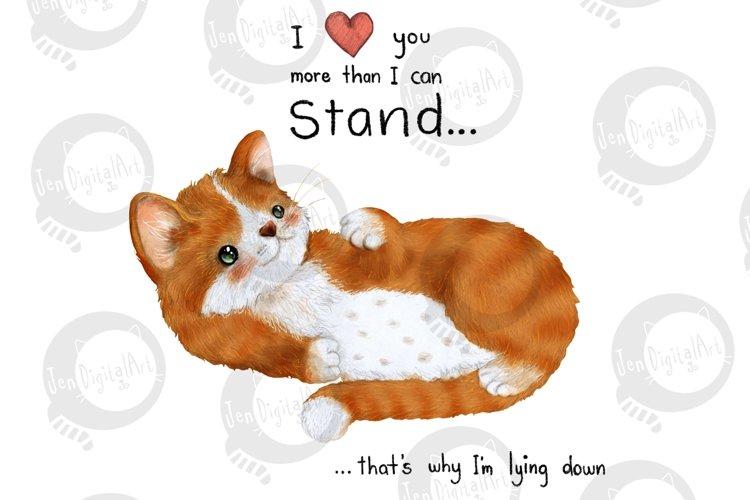 Lazy Cat | Clip Art Illustration | PNG/JPEG example image 1