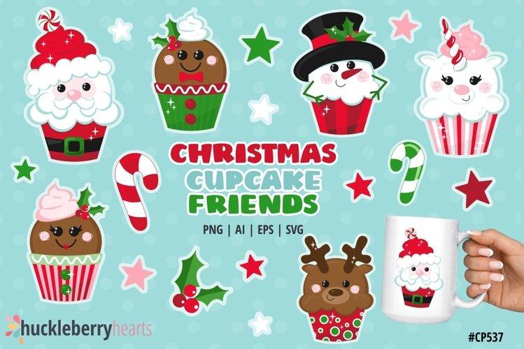 Christmas Cupcake Friends Clipart
