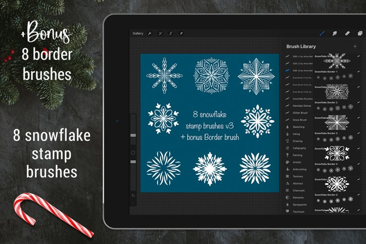 Procreate snowflake stamp brushes | Bonus border brushes