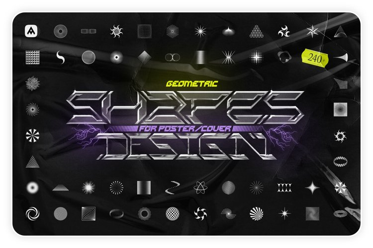 Geometric shapes pack for poster and cover design example image 1