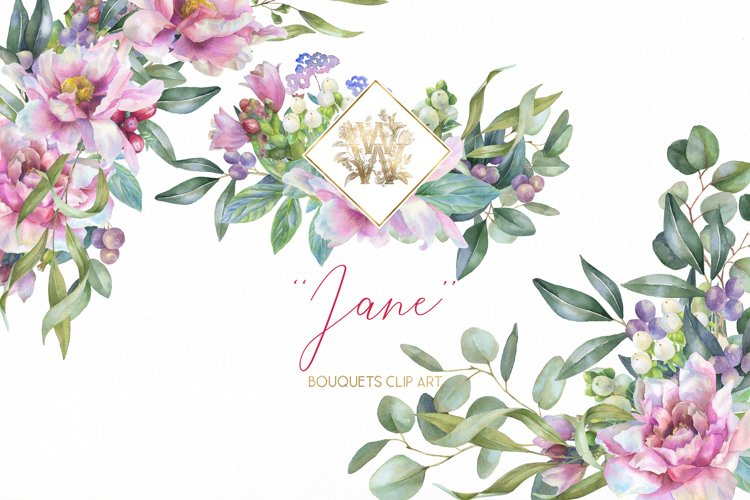 Watercolor Pink Peonies border Clipart, Wedding peony floral