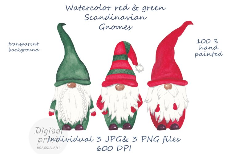 Watercolor scandinavian gnomes png example image 1