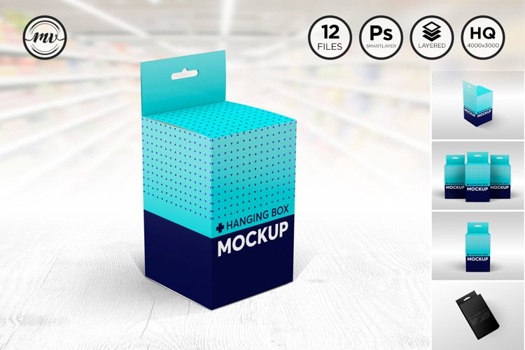 Square Box with Hanger Mockup V.2 example image 1