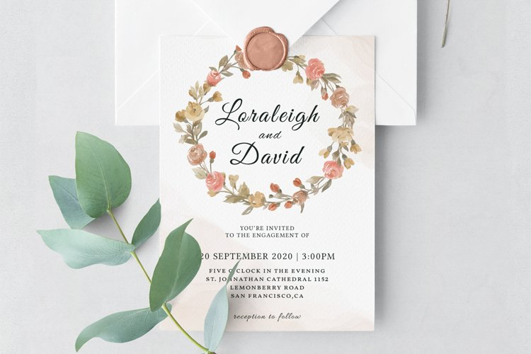Modern Floral Wedding Invitation Template example image 1