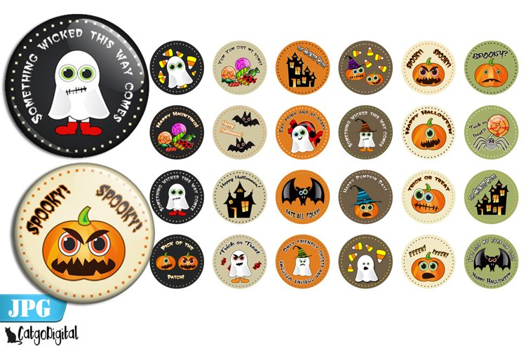 Cute Halloween Bottle cap images Printable circles example image 1